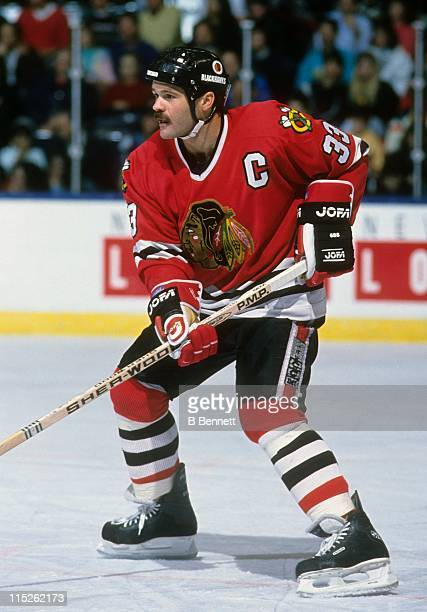 Dirk Graham of the Chicago Blackhawks skates on the ice during an NHL game in November 1989