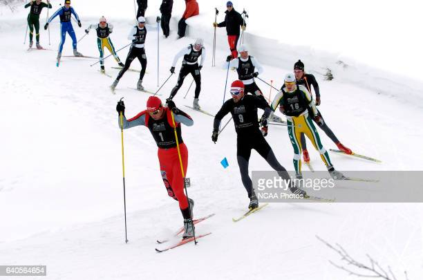 Dirk Grimm of the University of New Mexico leads the pack through early turns in the Men's 20K Freestyle Cross Country event at the 2006 NCAA Men and...