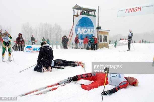 Dirk Grimm of the University of New Mexico takes a breather following the freestyle cross country event of the 2005 NCAA Men and Women's Skiing...