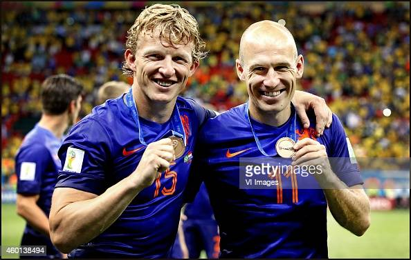 Dirk Kuyt Arjen Robben during the World Cup 2014 playoff match for third place between Netherlands and Brazil on July 12 2014 at Estadio Nacional in...
