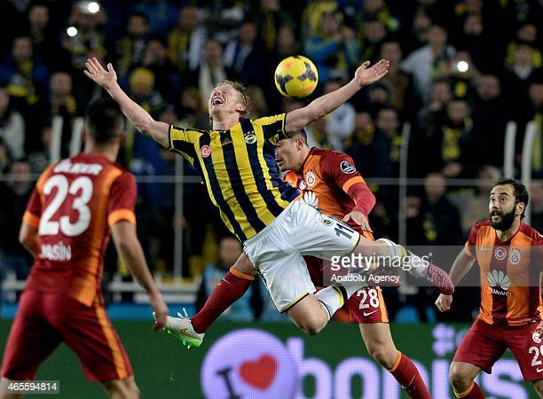 Dirk Kuyt of Fenerbahce in action during the Turkish Spor Toto Super League derby game between Fenerbahce and Galatasaray at Sukru Saracoglu Stadium...