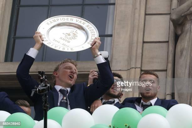 Dirk Kuyt of Feyenoord Bilal Basacikoglu of Feyenoord Michiel Kramer of Feyenoordduring Feyenoord Rotterdam honored Eredivisie champions at the...