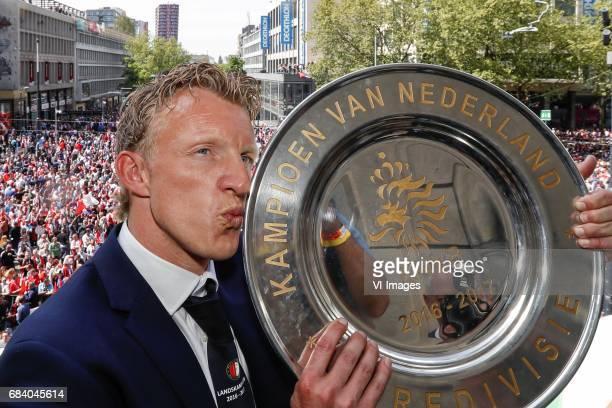 Dirk Kuyt of Feyenoord kisses the tropheeduring Feyenoord Rotterdam honored Eredivisie champions at the Coolsingel on May 15 2017 in Rotterdam The...