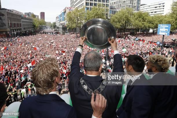 Dirk Kuyt of Feyenoord major Ahmed Aboutaleb of Rotterdam coach Giovanni van Bronckhorst Tonny Vilhena of Feyenoord with tropheeduring Feyenoord...