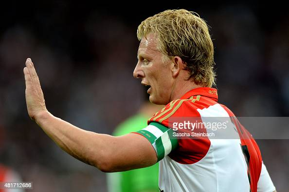 Dirk Kuyt of Feyenoord reacts during the pre season friendly match between Feyenoord Rotterdam and Southampton FC at De Kuip on July 23 2015 in...