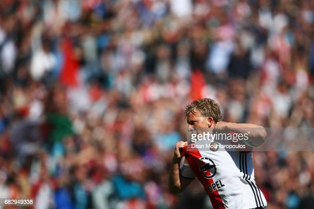 Dirk Kuyt of Feyenoord Rotterdam celebrates scoring his teams third goal of the game during the Dutch Eredivisie match between Feyenoord Rotterdam...