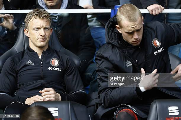 Dirk Kuyt of Feyenoord Rotterdam Rick Karsdorp of Feyenoord Rotterdam on the benchduring the Dutch Eredivisie match between Vitesse Arnhem and...