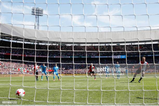 Dirk Kuyt of Feyenoord Rotterdam takes the penalty and scores his teams third goal of the game during the Dutch Eredivisie match between Feyenoord...