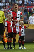 Dirk Kuyt of Feyenoord with his kids during the preseason friendly match between Feyenoord and Valencia on July 23 2016 at the Kuip in Rotterdam The...