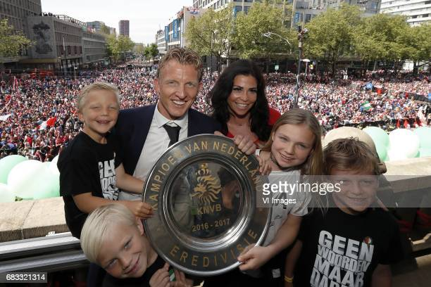 Dirk Kuyt of Feyenoord with his wife Gertrude and children and with the tropheeduring Feyenoord Rotterdam honored Eredivisie champions at the...