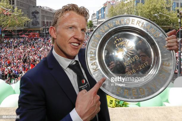 Dirk Kuyt of Feyenoord with the tropheeduring Feyenoord Rotterdam honored Eredivisie champions at the Coolsingel on May 15 2017 in Rotterdam The...