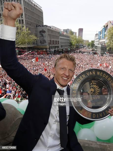 Dirk Kuyt of Feyenoord with tropheeduring Feyenoord Rotterdam honored Eredivisie champions at the Coolsingel on May 15 2017 in Rotterdam The...