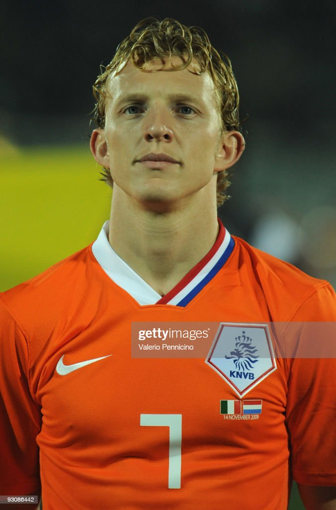 Dirk Kuyt of Holland lines up for the anthems prior to kickoff during the international friendly match between Italy and Holland at Adriatico Stadium...