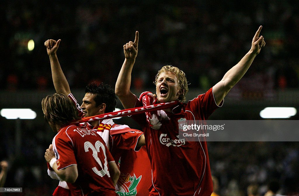 Dirk Kuyt of Liverpool celebrates after his team won the UEFA Champions League semi final second leg match between Liverpool and Chelsea at Anfield on May 1, 2007 in Liverpool, England.
