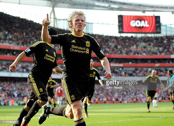 Dirk Kuyt of Liverpool celebrates after scoring the equlising goal at the end of the Barclays Premier League match between Arsenal and Liverpool at...