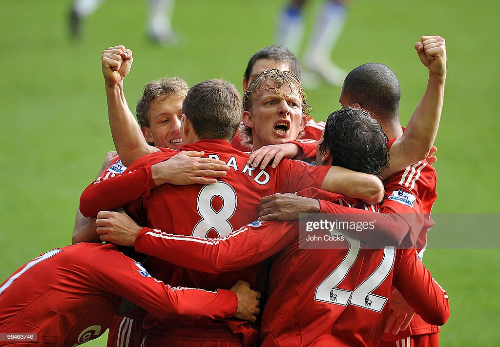Dirk Kuyt of Liverpool celebrates his goal during the Barclays Premier League match between Liverpool and Everton at Anfield on February 6 2010 in...