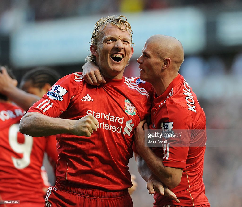 Dirk Kuyt of Liverpool celebrates his goal with Paul Konchesky of Liverpool during the Barclays Premier League match between Liverpool and Sunderland at Anfield on September 25, 2010 in Liverpool, England.