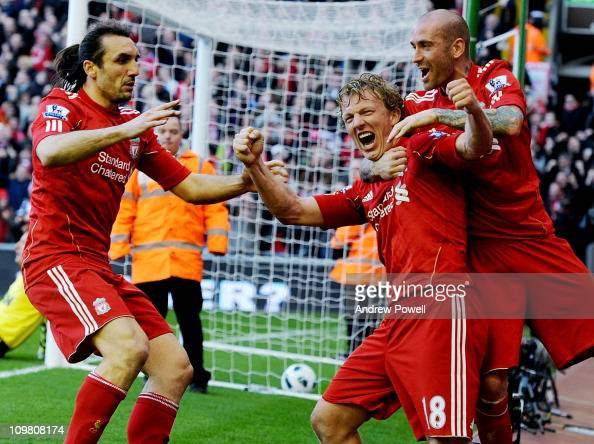 Dirk Kuyt of Liverpool celebrates his hattrick during the Barclays Premier League match between Liverpool and Manchester United at Anfield on March 6...