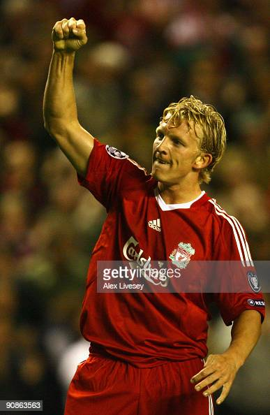 Dirk Kuyt of Liverpool celebrates scoring the opening goal during the UEFA Champions League Group E match between Liverpool and Debrecen VSC at...