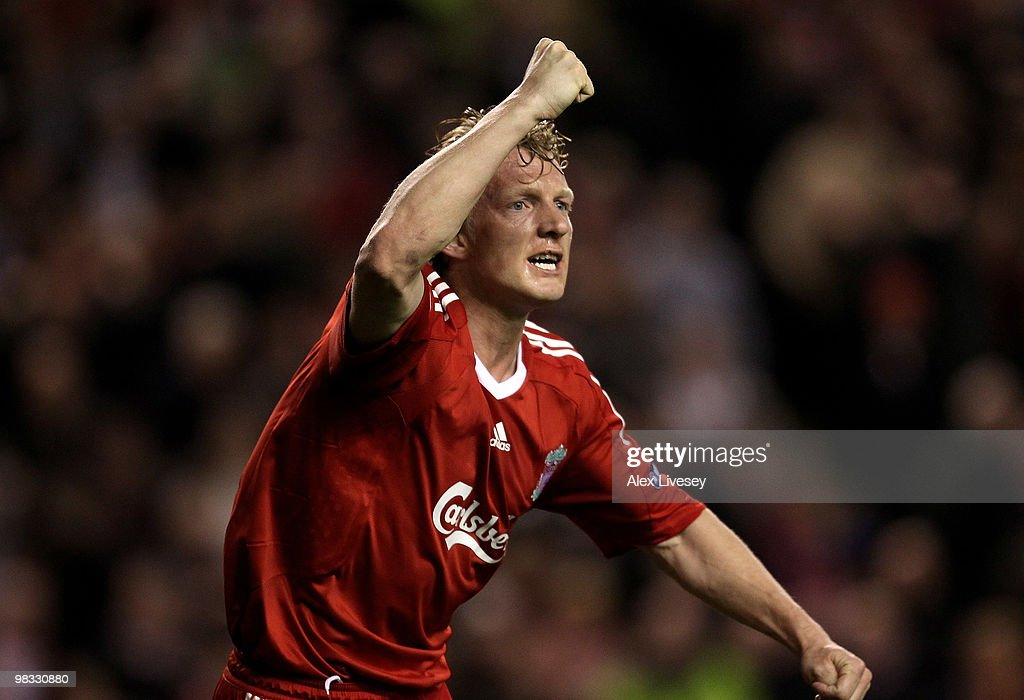 Dirk Kuyt of Liverpool celebrates scoring the opening goal during the UEFA Europa League Quarter Final second leg match between Liverpool and Benfica...