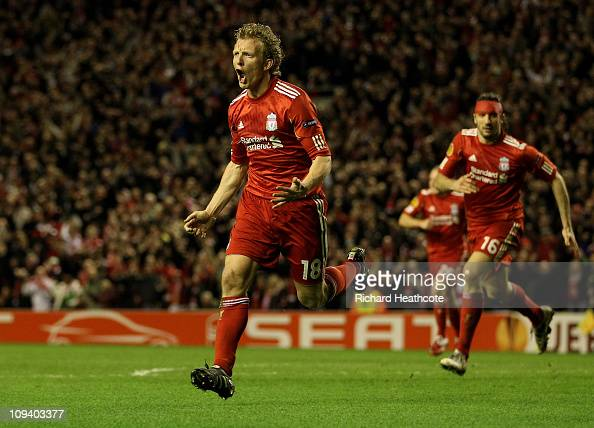 Dirk Kuyt of Liverpool celebrates scoring the winning goal during the UEFA Europa League Round of 32 2nd leg match beteween Liverpool and Sparta...