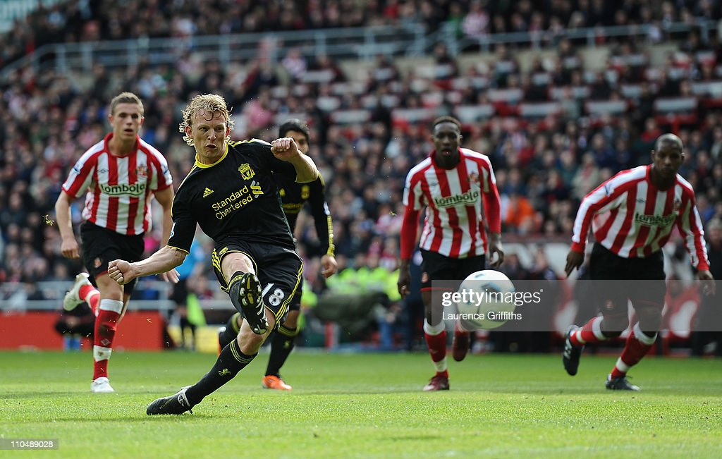 Dirk Kuyt of Liverpool fires home the first goal from the penalty spot during the Barclays Premier League match between Sunderland and Liverpool at...