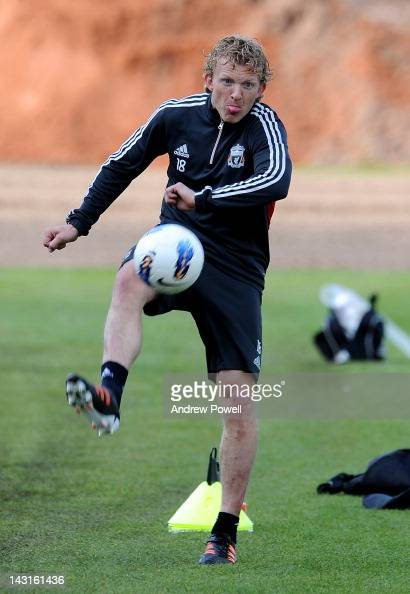 Dirk Kuyt of Liverpool in action during a training session at Melwood Training Ground on April 20 2012 in Liverpool England
