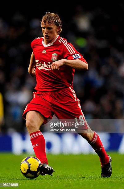 Dirk Kuyt of Liverpool in action during the Barclays Premier League match between Manchester City and Liverpool at City of Manchester Stadium on...