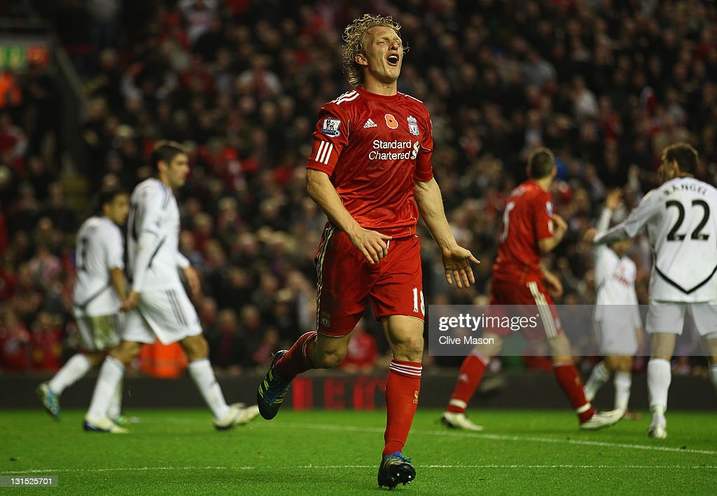 <a gi-track='captionPersonalityLinkClicked' href=/galleries/search?phrase=Dirk+Kuyt&family=editorial&specificpeople=538141 ng-click='$event.stopPropagation()'>Dirk Kuyt</a> of Liverpool reacts as his goal is disallowed during the Barclays Premier League match between Liverpool and Swansea City at Anfield on November 5, 2011 in Liverpool, England.