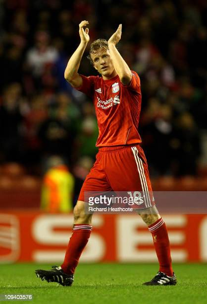 Dirk Kuyt of Liverpool salutes the fans at the end of the UEFA Europa League Round of 32 2nd leg match beteween Liverpool and Sparta Prague at...