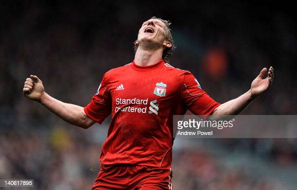 Dirk Kuyt of Liverpool shows his dejection at the end of the Barclays Premier League match between Liverpool and Arsenal at Anfield on March 3 2012...