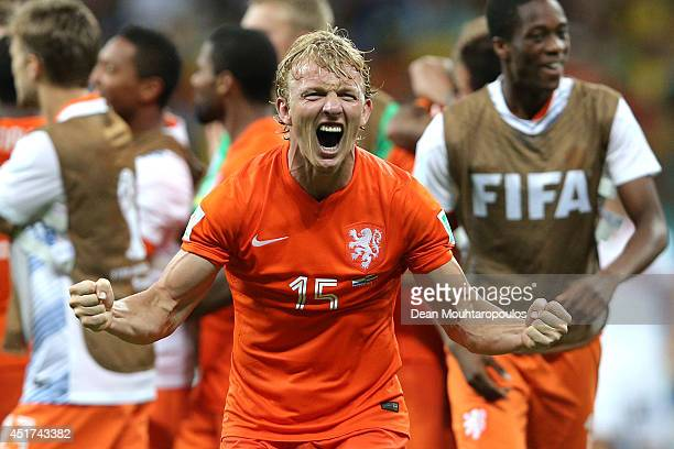 Dirk Kuyt of the Netherlands celebrates after defeating Costa Rica in a penalty shootout during the 2014 FIFA World Cup Brazil Quarter Final match...