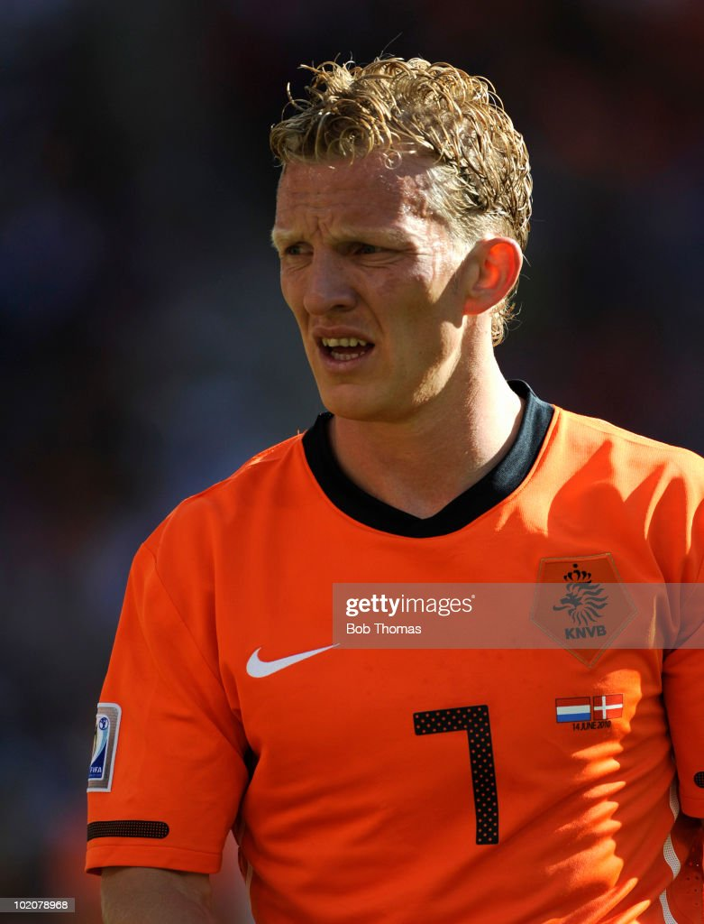 Dirk Kuyt of the Netherlands during the 2010 FIFA World Cup Group E match between Netherlands and Denmark at Soccer City Stadium on June 14 2010 in...