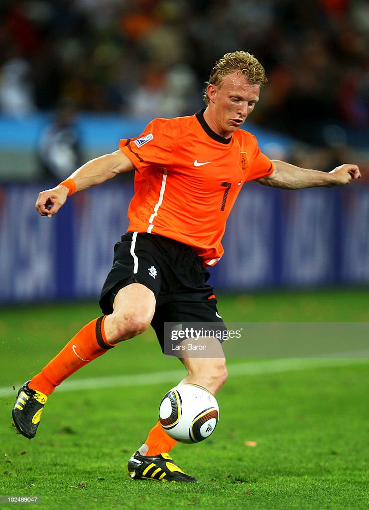 Dirk Kuyt of the Netherlands in action during the 2010 FIFA World Cup South Africa Round of Sixteen match between Netherlands and Slovakia at Durban Stadium on June 28, 2010 in Durban, South Africa.