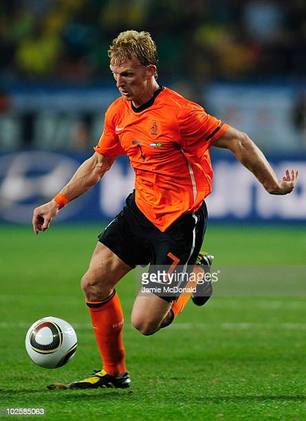 Dirk Kuyt of the Netherlands in action during the 2010 FIFA World Cup South Africa Quarter Final match between Netherlands and Brazil at Nelson...