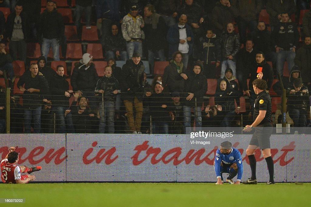 Dirk Marcellis of AZ, Joey Brock of FC Den Bosch, referee Reinold Wiedemeijer during the Dutch Cup match between FC Den Bosch and AZ at stadium De Vliert on january 29, 2013 in Den Bosch, The Netherlands