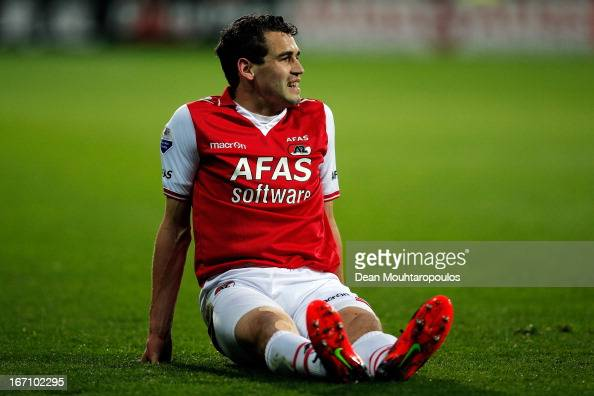 Dirk Marcellis of AZ reacts after miss kicking a cross during the Eredivisie match between AZ Alkmaar and PSV Eindhoven at the AFAS Stadium on April...