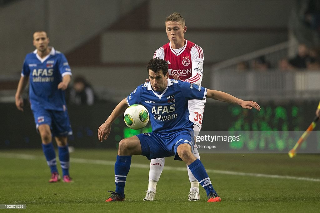 Dirk Marcellis of AZ, Viktor Fischer of Ajax during the Dutch Cup match between Ajax Amsterdam and AZ Alkmaar at the Amsterdam Arena on february 27, 2013 in Amsterdam, The Netherlands
