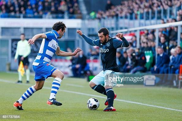 Dirk Marcellis of PEC Zwolle Amin Younes of Ajaxduring the Dutch Eredivisie match between PEC Zwolle and Ajax Amsterdam at the MAC3Park stadium on...