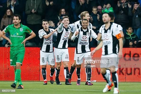 Dirk Marcellis of PEC Zwolle Daryl van Mieghem of Heracles Almelo Robin Gosens of Heracles Almelo Vincent Vermeij of Heracles Almelo Brandley Kuwas...