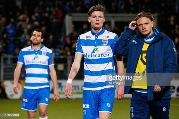 Dirk Marcellis of PEC Zwolle Django Warmerdam of PEC Zwolle Wouter Marinus of PEC Zwolleduring the Dutch Eredivisie match between PEC Zwolle and...