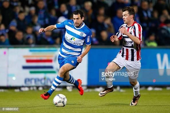 Dirk Marcellis of PEC Zwolle Erik Falkenburg of Willem II during the Dutch Eredivisie match between PEC Zwolle and Willem II Tilburg at the...