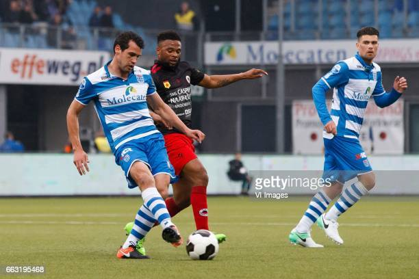 Dirk Marcellis of PEC Zwolle Fredy Ribeiro of Excelsior Danny Holla pf PECduring the Dutch Eredivisie match between PEC Zwolle and bv Excelsior...