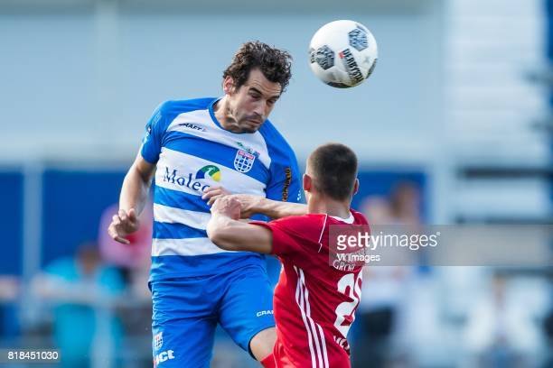 Dirk Marcellis of PEC Zwolle Gaston Salasiwa of Almere City FC during the friendly match between PEC Zwolle and Almere City at at the MAC3Park...