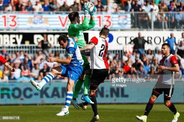 Dirk Marcellis of PEC Zwolle goalkeeper Brad Jones of Feyenoord Michiel Kramer of Feyenoord Bart Nieuwkoop of Feyenoordduring the Dutch Eredivisie...