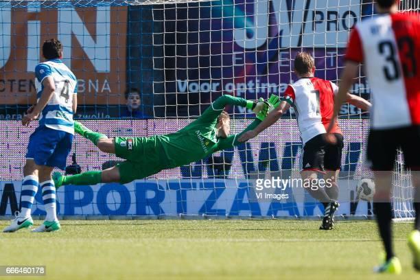 Dirk Marcellis of PEC Zwolle goalkeeper Mickey van der Hart of PEC Zwolle Dirk Kuyt of Feyenoord during the Dutch Eredivisie match between PEC Zwolle...