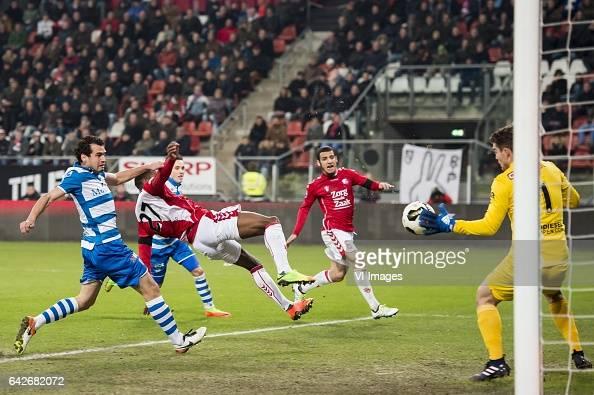 Dirk Marcellis of PEC Zwolle Gyrano Kerk of FC Utrecht Ryan Thomas of PEC Zwolle Yassin Ayoub of FC Utrecht Goalkeeper Mickey van der Hart of PEC...