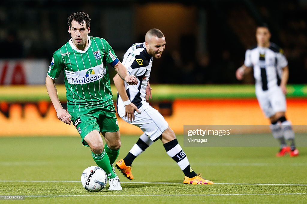 Dirk Marcellis of PEC Zwolle, Iliass Bel Hassani of Heracles Almelo during the Dutch Eredivisie match between Heracles Almelo and PEC Zwolle at Polman stadium on February 06, 2016 in Almelo, The Netherlands