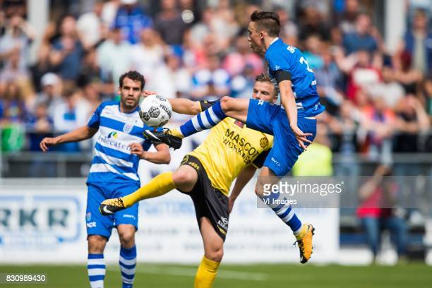 Dirk Marcellis of PEC Zwolle Jorn Vancamp of Roda JC Ryan Thomas of PEC Zwolle during the Dutch Eredivisie match between PEC Zwolle and Roda JC at...