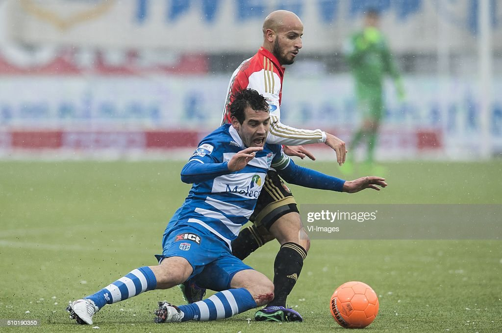 Dirk Marcellis of PEC Zwolle, Karim El Ahmadi of Feyenoord during the Dutch Eredivisie match between PEC Zwolle and Feyenoord Rotterdam at the IJsseldelta stadium on February 14, 2016 in Zwolle, The Netherlands